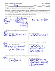 Quiz 3 Solution on Polynomial long division and basic factoring