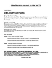 GAP 5 PROGRAM PLANNING WORKSHEET