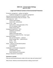 Lecture outline - Legal and Political Context
