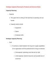 Strategic Capacity Planning for Products and Services Notes