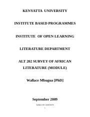 ALT 202 Survey Of African Literature