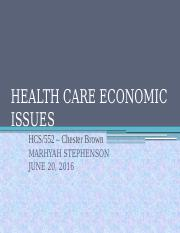 HEALTH CARE ECONOMIC ISSUES