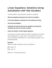 Linear Equations- Two Variables