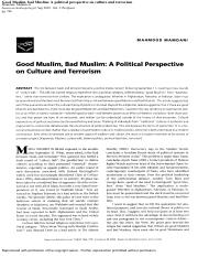 Good Muslim, bad Muslim  political perspective on culture and terrorism