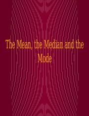 3. The Mean, the Median and the Mode - Online