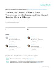 Study on the Effect of Adiabatic Flame Temperature on NOx Formation Using Ethanol Gasoline Blend in.