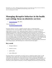 MOD 4 case study Managing disruptive behaviors in the health care setting.docx