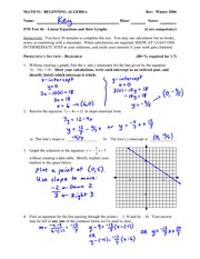 Quiz Solution on Linear Equations and Their Graphs