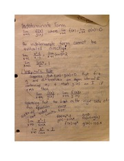 Indeterminate Form Class Notes MATH 181