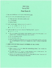 Final Exam Spring 2012 on Analytical Geometry and Calculus I