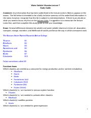 Lecture 7 Water Soluble Vitamin Study Guide