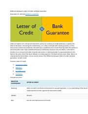 Difference Between Letter of Credit and Bank Guarantee docx