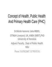 Nkj NSU ist session Concept of Health, Public Health And PHC