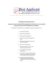 100 Sample Interview Questions