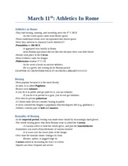 CS 2300B - Study Notes by Theme -  (19) Athletics in Rome
