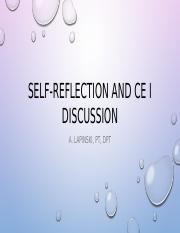 Self-Reflection and CE I discussion