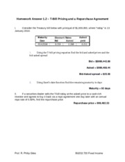 HW 1-2 -T-Bill Pricing and a Repurchase Agreement-Answer.docx
