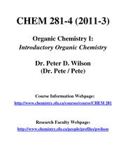 CHEM 281-2011-3 COURSE TITLE NOTICE