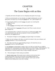 Chapter Six - The Game Begins with an Idea