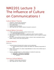 NM2201 Lecture 3 - Influence of Culture on Comms