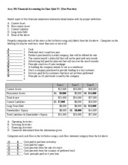 Financial Accounting In-Class Quiz VI--with Answers