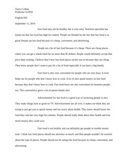Fast food essay Tiarra Collins