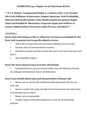 Final Study Guide for MTKG 351