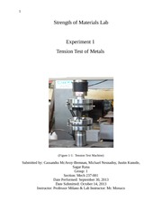 Lab 1 Tension Test of Metals