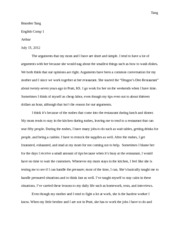Argument and Self Essay