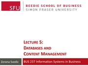 Lecture 5 - Databases & Content Management