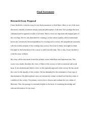 Research Essay Proposal - Final Assessment