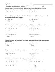 Arithmetic And Geometric Sequences Worksheet Pdf Id 1 Secondary I Name 4 3 Arithmetic And Geometric Sequences Worksheet Period U00a96 227091x3k Ekouptmaj Course Hero