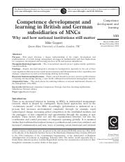 Competence development and learning in British and German subsidiaries of MNCs- why and how national