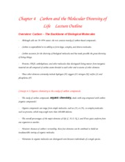 Chapter 4    Carbon and the Molecular Diversity of Life    Lecture Outline