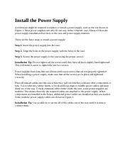 3.1.1.2 Install the Power Supply
