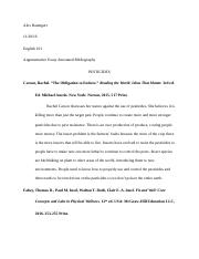 Argumentative Essay Annotated Bibliography