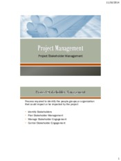 Lecture 9 Project Stakeholder Management for Project Management for Chemical Engineering