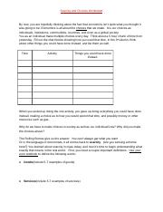 Scarcity and Choices Worksheet