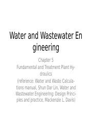 Chapter 5 Fundamental and Treatment plant Hydraulics