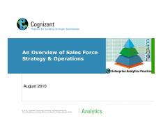 Overview of Sales Force Strategy and Sales Operations