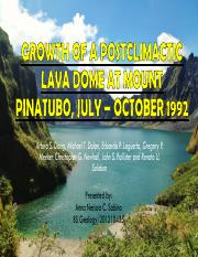 [14]GROWTH OF A POSTCLIMACTIC LAVA DOME AT MOUNT PINATUBO, JULY – OCTOBER 1992