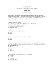 ECON 113 Midterm 2 Summer 2011 Solutions
