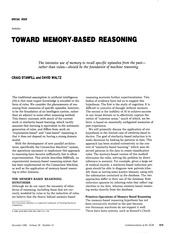 Toward memory based reasoning