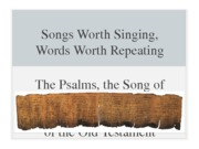 Psalms, Song of Songs, Wisdom LIt(1)