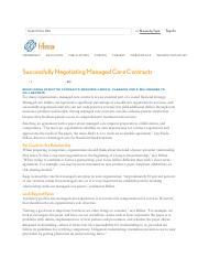 Successfully Negotiating Managed Care Contracts _ HFMA