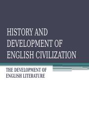 HISTORY AND DEVELOPMENT OF ENGLISH CIVILIZATION