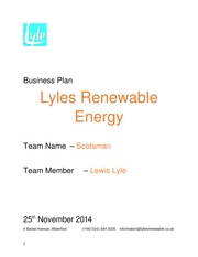 Business Plan Business Plan Lyles Renewable Energy