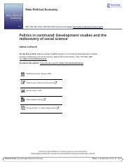 Politics in command Development studies and the rediscovery of social science