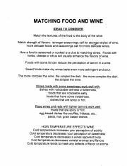 Matching Food and Wine