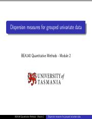 M2VL4 Dispersion measures for grouped univariate data